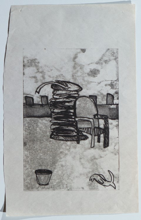 2009. Monoprint on Newsprint. 8 x 12 inches